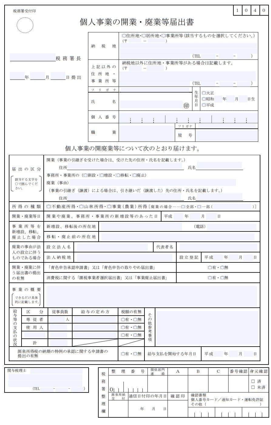 個人事業の開業・廃業届出書【見本】出典:国税庁HP