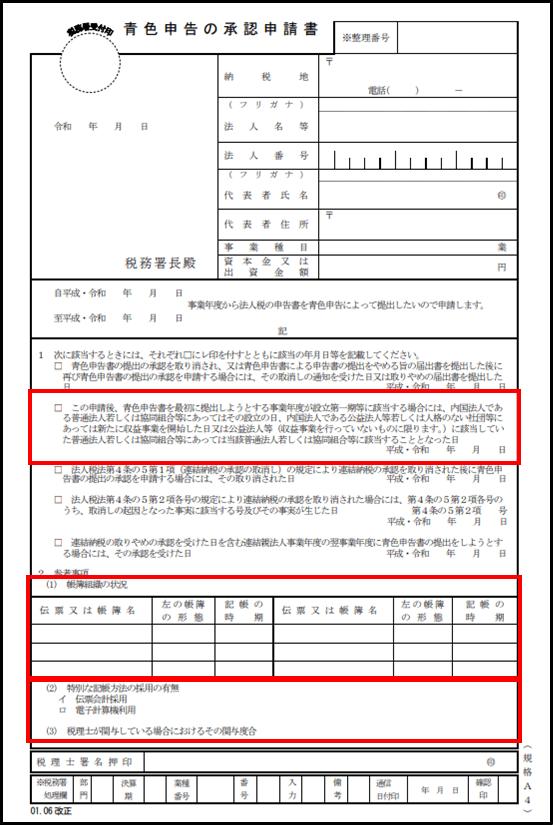 青色申告の承認申請書