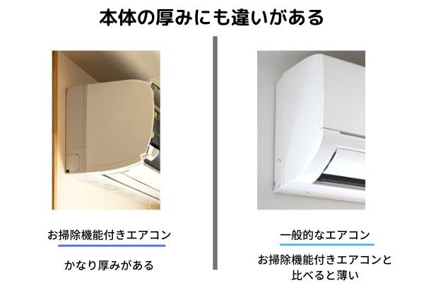 エアコン本体の厚みにも違いがある