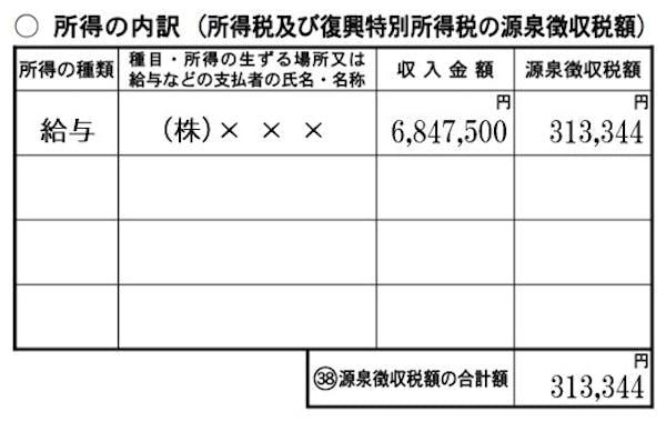 収入金額の転記(第二表)