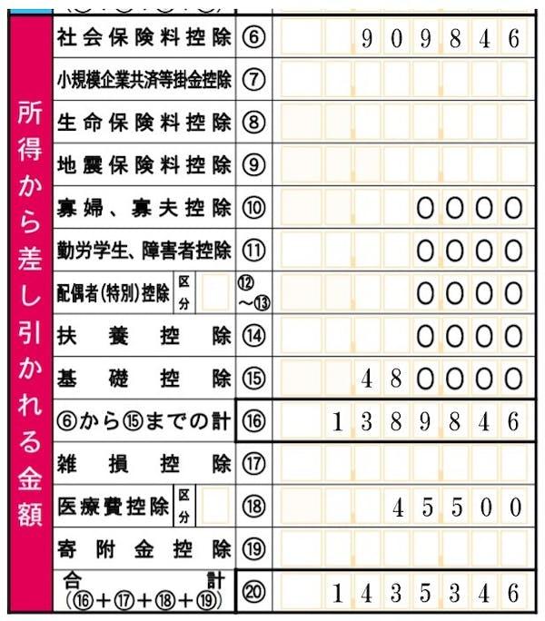 所得控除の転記(第一表)