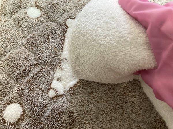 水を少しかけて乾いた布で拭く