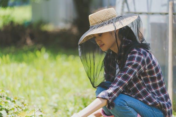 庭仕事をする女性