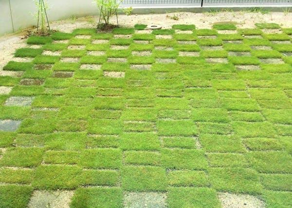 つなぎ目が見えている芝生の庭