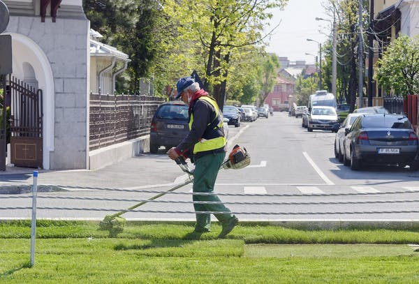 草刈り機を使用する男性