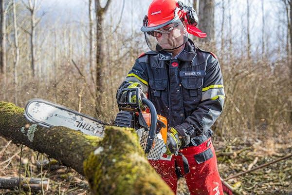 木を切る男性