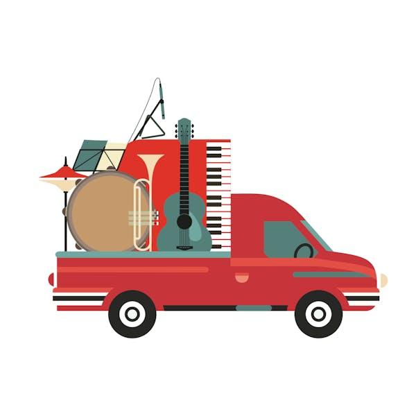 楽器を輸送するトラック、引っ越し