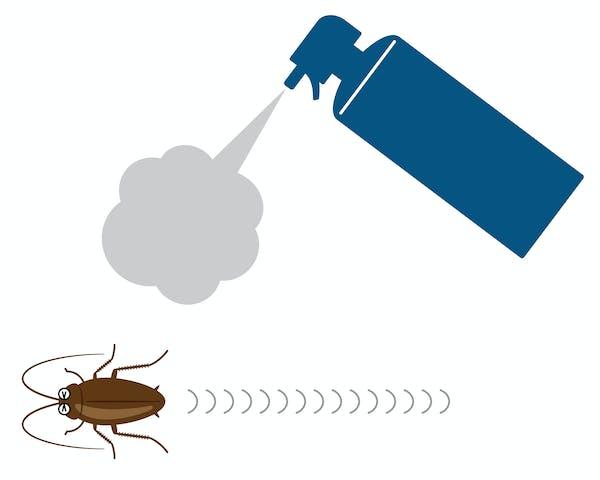 殺虫スプレーから逃げるゴキブリ