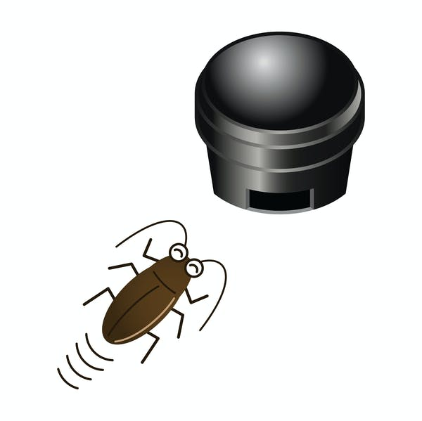 ベイト剤(毒餌)に近づくゴキブリのイラスト
